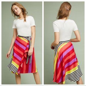 ANTHRO Rana Gill Striped Wrap Skirt Ruffle Bold M